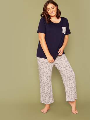Shein Plus Pocket Front Top & Floral Print Pants PJ Set