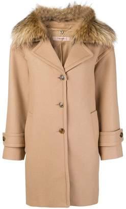 Twin-Set fur collar single-breasted coat