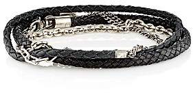 Title of Work Men's Mixed-Chain & Leather Wrap Bracelet - Silver