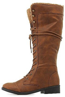 Qupid Knee-High Combat Boots $45.99 thestylecure.com