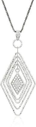 Sterling Italian Graduated Rhombus Shape Cubic Zirconia Dangle Necklace