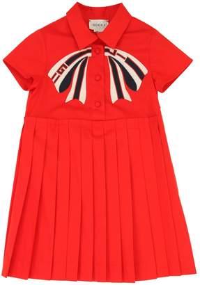 eeadc32eb4e Gucci Pleated Stretch Cotton Poplin Dress
