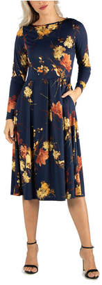 24seven Comfort Apparel Women Floral Long Sleeve Fit and Flare Midi Dress