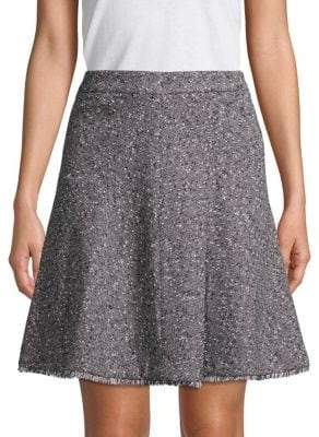 Ellen Tracy Fringe-Trimmed A-Line Skirt