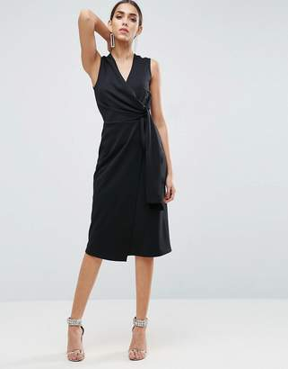 ASOS Wrap Front Midi Pencil Dress with Tie Detail $64 thestylecure.com