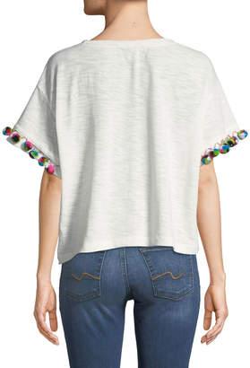 Catherine Malandrino Hache Pompom Cropped Cotton T-Shirt