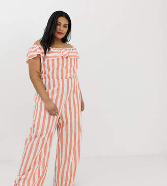 Glamorous Curve curve bardot jumpsuit with wide leg in stripe
