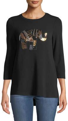 Neiman Marcus 3/4-Sleeve Elephant-Sequined Tee