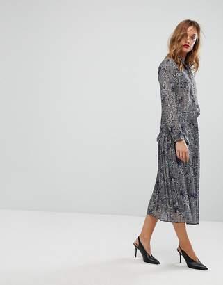 Warehouse Floral Print and Check Midi Skirt