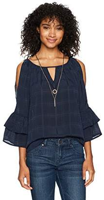 Amy Byer A. Byer Junior's 3/4 Tiered Sleeve Keyhole Top (Junior's)