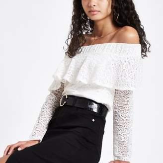 River Island Cream lace frill bardot long sleeve top