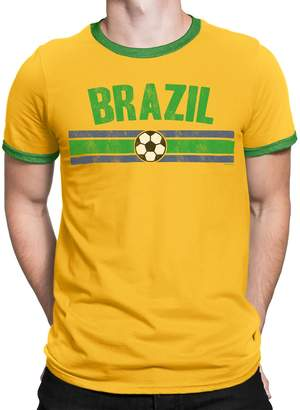 a75c457824a Buzz Shirts Mens Brazil Distressed Country Football T-Shirt World Cup 2018  Retro Sports