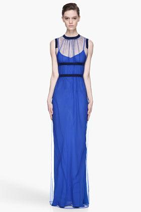 Christopher Kane Royal blue Sheer layered Maxi Dress