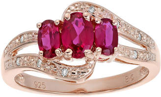 FINE JEWELRY Lab-Created Ruby and Genuine White Topaz Rose-Tone Sterling Silver 3-Stone Ring