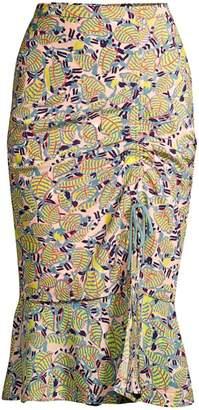 Saloni Olga Botanical Print Midi Skirt