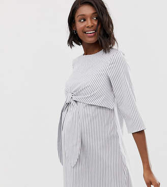 dd8641cdae0b1 Asos DESIGN Maternity tie front nursing mini dress in stripe