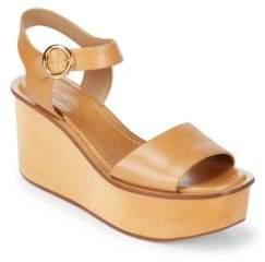 Bridgette Leather Ankle-Strap Wedge Platform Sandals
