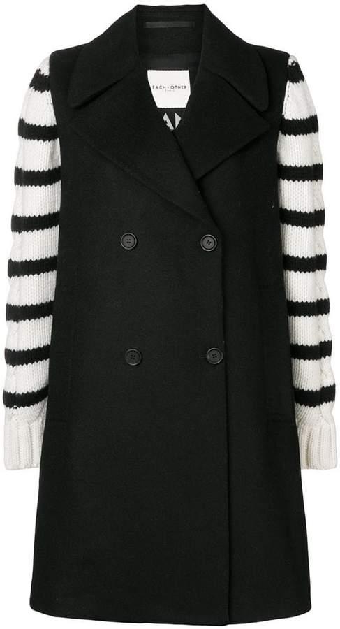 striped design oversized coat