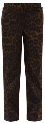 Burberry Leopard Print Straight Leg Cotton Trousers - Mens - Brown