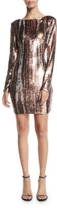 Dress the Population Lola Long-Sleeve Sequin Brushstroke Dress