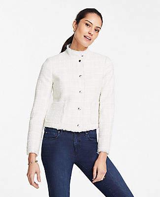 Ann Taylor Petite Tweed Fringe Zip Jacket
