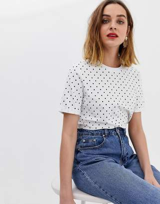Pieces polka dot t-shirt with folded sleeve
