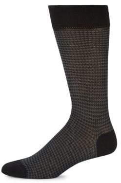 Houndstooth Cotton-Blend Socks