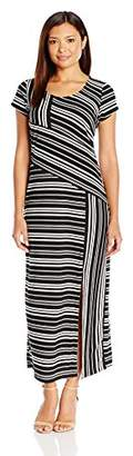 NY Collection Women's Petite Size Printed Cap Sleeve Maxi Dress,PS