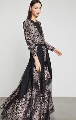 BCBGMAXAZRIA Embroidered Tulle Maxi Dress