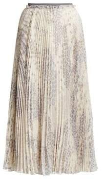 RED Valentino Cascading Star Pleated Midi Skirt
