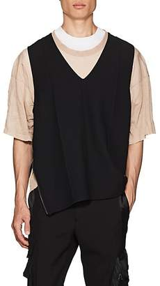 Lanvin Men's Oversized Wool-Blend Twill Vest - Black