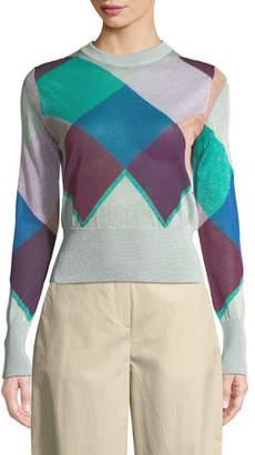 Emporio Armani Multicolor Long-Sleeve Harlequin Knit Jacket