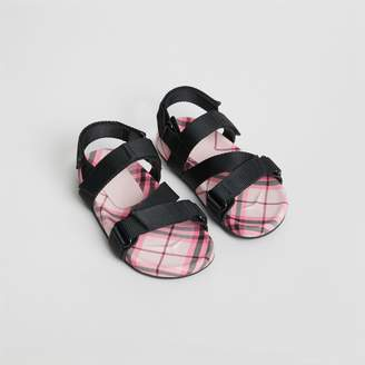 Burberry Ripstop Strap Check Cotton Sandals