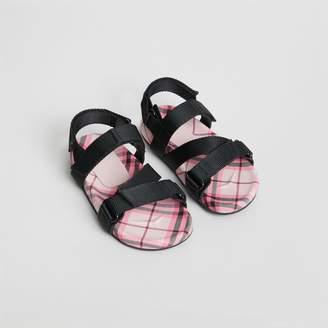 Burberry Ripstop Strap Check Cotton Sandals , Size: 34