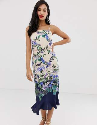 Oasis cami midi dress with square neck in floral print