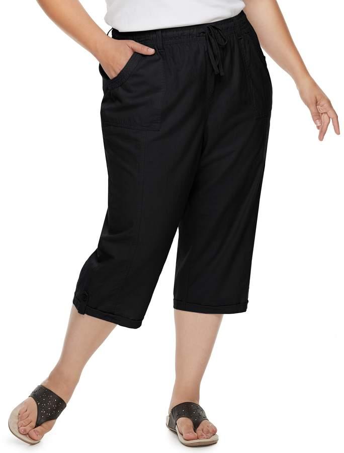 Plus Size Thea Sheeting Button-Tab Capris