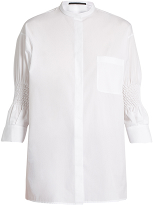 HAIDER ACKERMANN Byron smocked-sleeve cotton shirt $556 thestylecure.com