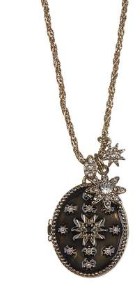 Marchesa Crystal Black Starburst Locket Pendant Necklace