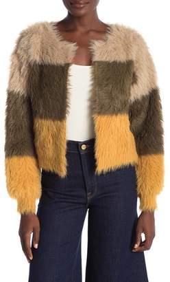 Woven Heart Fuzzy Color-Block Cardigan