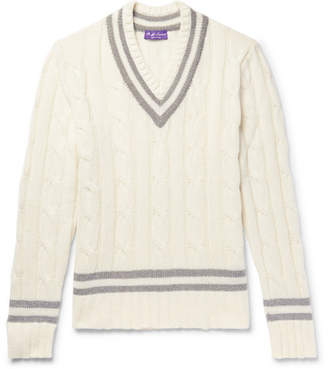 Ralph Lauren Purple Label Striped Cable-Knit Cashmere Sweater