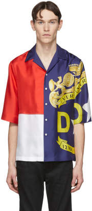 Versace Multicolor Silk Colorblock Short Sleeve Shirt