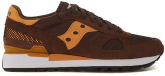 Saucony Shadow Sneaker In Brown And Orange Suede