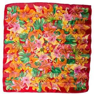 Oscar de la Renta Floral Print Woven Scarf