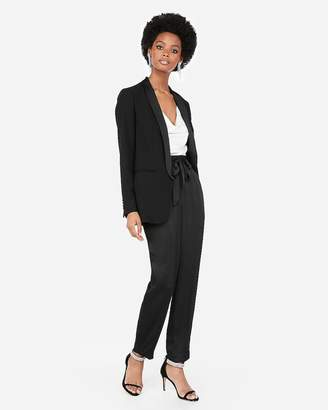 Express Ruched Sleeve Shawl Collar Tuxedo Boyfriend Blazer