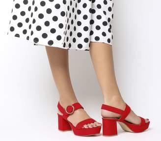 Office Mouse Platform Sandals Red