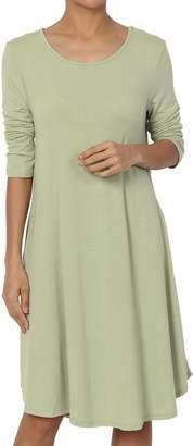 Ash TheMogan Women's 3/4 Sleeve Trapeze Knit Pocket T-Shirt Dress BlackL