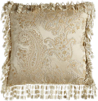 """Isabella Collection By Kathy Fielder Montfort Reversible Ogee/Paisley Pillow, 20""""Sq."""