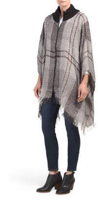 Woven Boucle Sweater Neck Ruana With Zipper