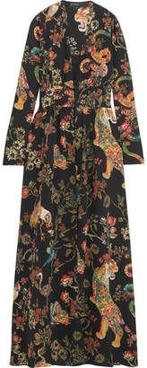 Etro - Printed Silk-crepe Gown - Black $4,100 thestylecure.com