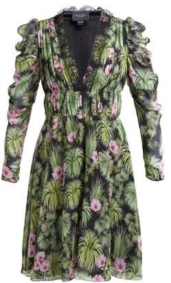 Giambattista Valli Floral Print Silk Georgette Mini Dress - Womens - Black Multi